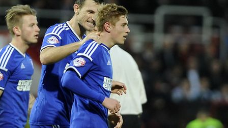 Teddy Bishop is congratulated by Tommy Smith after scoring at Bournemouth