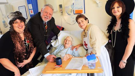Remembrance day tea-party on Ward F3 with Terry Waite and dementia patients for Forget Me Not campai