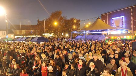 Crowds fill the triangle for the Felixstowe Christmas Tree lighting on Saturday, 29 November.