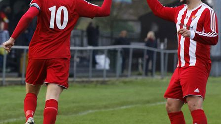 Felixstowe's Ben Cranfield and Danny Thrower celebrate a goal against Newmarket