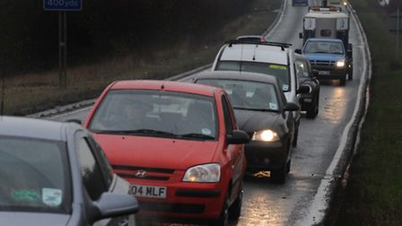 Queueing traffic leaving Braintree on the single carriageway A120 blocked after an accident near Co