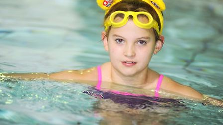 Phoebe Mousley-Hastings, 11, who is swimming a mile for Children in Need tomorrow at Bury St Edmund