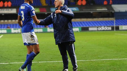 Ipswich Town boss Mick McCarthy congratulates Tyrone Mings following the recent 2-1 home win over W