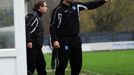 Bury Town boss Ben Chenery makes his point on Saturday