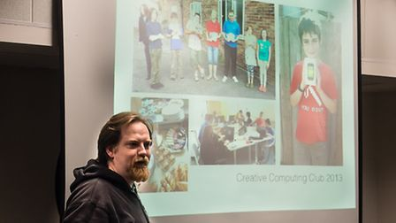 Matthew C Applegate at the re-launch of the Creative Computing Club. Photo: Tim Driver