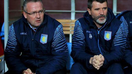 Aston Villa manager Paul Lambert (left) and assistant manager Roy Keane.