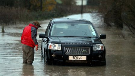 A flooded road in Essex