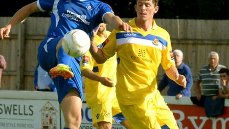 John Sands (blue) during his Bury Town days