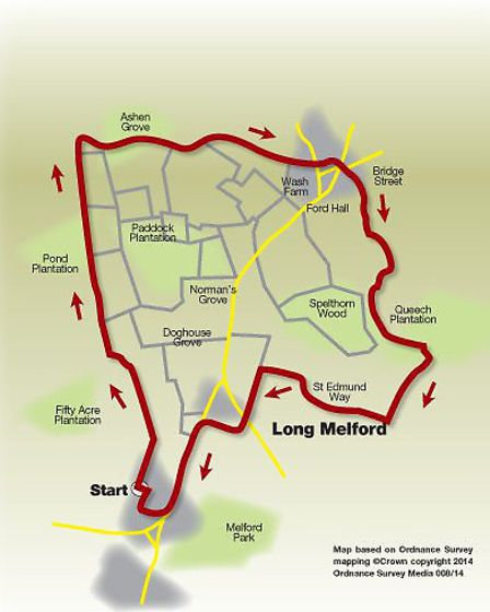 Route of the Long Melford walk