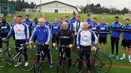 The launch of the Ipswich Town charity bike ride from London to Amstersdam. On bikes L-R: Alan Lee,