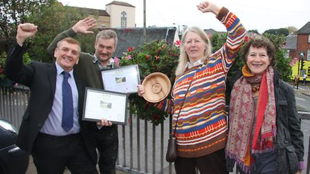 Colchester celebrates gold awards in Anglia in Bloom (from left) Cllr Dave Harris, secretary of Col
