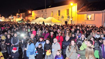 Emma Freud switches on Aldeburgh Christmas lights last year