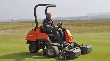 Gavin Playford of the Royal West Norfolk Golf Club with its new Jacobsen Eclipse 322 mower