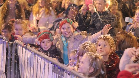 Jade May-Jean Peters from The Voice switches on Stowmarkets Christmas Lights