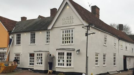 Work in progress repainting the Angel Hotel in Lavenham, which is under new ownership