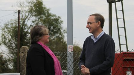 Suffolk Coastal MP Dr Therese Coffey and Waveney district councillor Dr Martin Parsons at the crossi