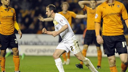 Clenched fist: David Wright celebrates in defiance as the U's come back to make the score 3-2 at Wol