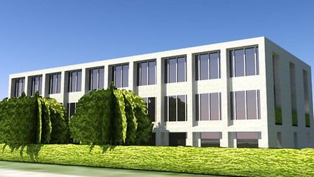 Artist's impression of how an office development in Sheepen Road, Colchester, could look