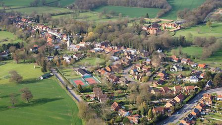 Yoxford planning decision to be contested in the High Court. Aerial photograph of Yoxford by Mike Pa