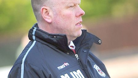 Needham Market v Harlow Town. Pictured is Needham manager Mark Morsley.