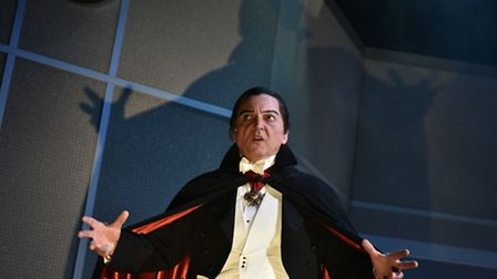 David Benson as Dracula in The Fitzrovia Radio Hour's Dracula at the Colchester Mercury