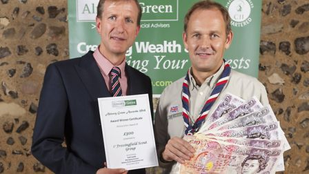 Carl Lamb (left), managing director of Almary Green, with First Fressingfield Scout Group leader And