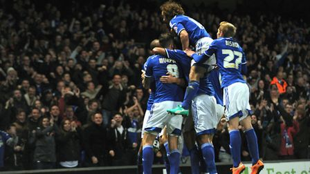 Ipswich Town players celebrate following Tommy Smith's 83rd minute winner. Photo: Sarah Lucy Brown