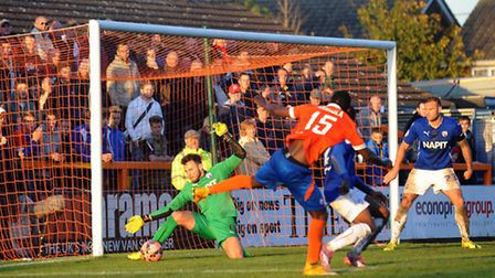 Braintree Town v Chesterfield - FA Cup. Braintree in orange. Chesterfield keeper, Tommy Lee makes a