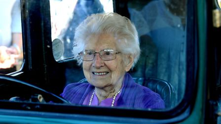 Birthday surprise: Alma Lilian Day gets a ride in an Austin 7, the first car she owned in the early