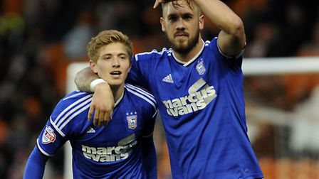 Luke Chambers points to Teddy Bishop after the youngster's thrilling run to the Blackpool by-line ha