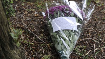Flowers placed near the scene where Nahid Almanea was murdered on Salary Brook Trail in Colchester.