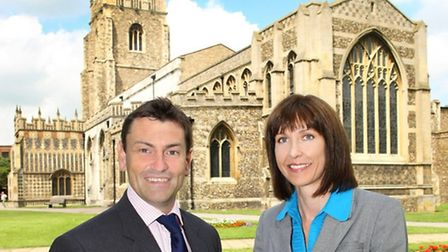 James Brown of Grant Thornton and Tracey Dickens of Birkett Long outside Chelmsford Cathedral.