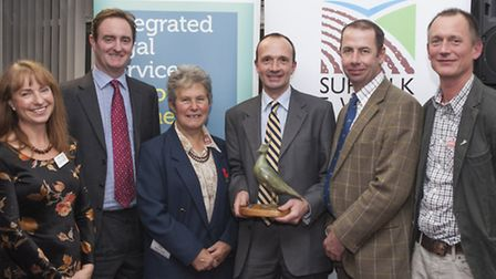 Jeanette Dennis, winners of the Farm Conservation Cup: Christopher Wilson, Diane Ling and Charlie Ha