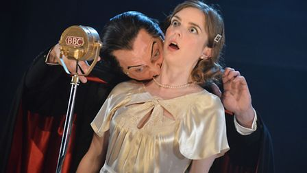 David Benson as Dracula and Fiona Sheehan in The Fitzrovia Radio Hour's Dracula at the Colchester Me