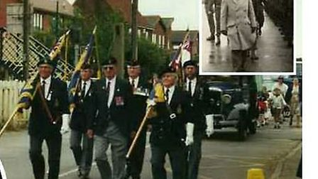 Martin Newell's father on parade, and inset, his late grandmother
