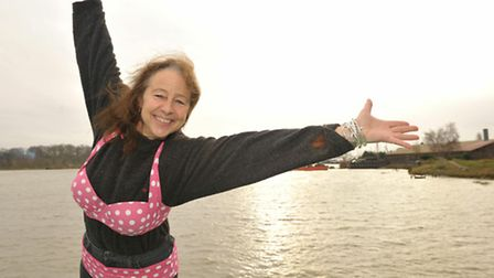 Mandy Hearle preparing to jump into the River Deben for the first of her 365 fundraising challenges