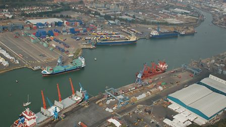 An aerial view of the Port of Ipswich, owned by Associated British Ports