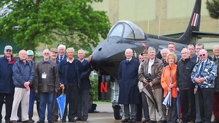 The unveiling of a restored Hawker Hunter jet (old Black Arrows plane) at Wattisham Airfield