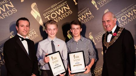 Young Person of the Year Award, Oscar Coussins and George Ayling with Pedro Perez from PPG and mayor