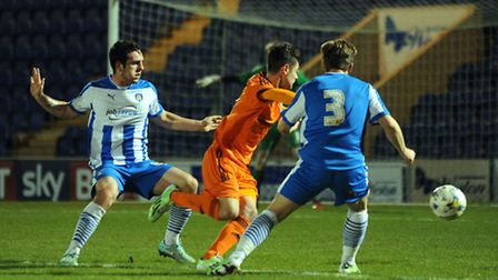 Action from tonight's FA Youth Cup tie. Ipswich Town's Cemal Ramadan surges into the Colchester pena