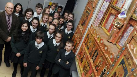 Art teacher, Dominic Billing, and year 9 students have created a new altar front at St Benedicts Sch