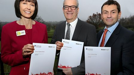 From left, Tracey Dickens of Birkett Long, guest speaker David Wernick of the Wernick Group and Jame