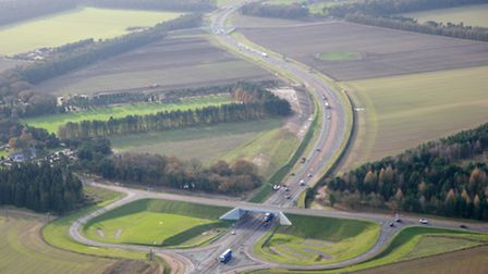 The dual carriageway on the A11 at Elveden, Norfolk. Photo : Steve Adams