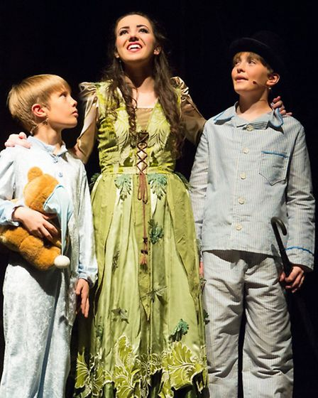Anna Watson as Wendy, Hadyn Ingram as John and Toby Linsell as Michael in The Co-op Juniors Theatre
