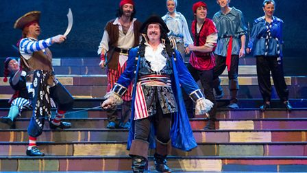 Richard Rumbellow as Captain Hook in The Co-op Juniors Theatre Company stage Christmas Spectacular i