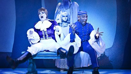 Laura Curnick as Dandini and Buttons (Dale Superville) in Cinderella the 2014 pantomime at Colcheste