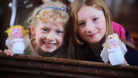 Angel Festival at St Mary's Church, Earl Stonham. Left to right, Samantha and Amelia Adams.