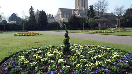 Bury Cathedral viewed from the Abbey Gardens