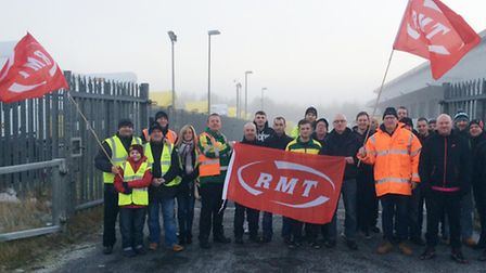 RMT members protesting outside a City Link depot.