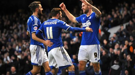 Daryl Murphy (right) celebrates scoring Ipswich Town's third goal of the afternoon.